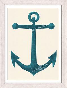 Nautical print poster Vintage blue  Anchor - sea life tools print- Original illustration anchor wall decor- Ocean life art