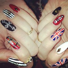 """For those of us who think writing """"punk"""" on nails actually makes you a punk rocker. Music Nail Art, Music Nails, Hot Nails, Hair And Nails, Toe Nail Art, Acrylic Nails, Rocker Nails, Band Nails, Nail Care Tips"""