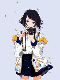 anime girl with camera art Girls Characters, Manga Characters, Kawaii Anime Girl, Anime Art Girl, Anime Girls, Manga Girl, Anime Style, Neji E Tenten, Girls With Cameras
