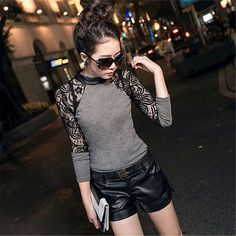 Drop Shipping Sexy Women Leather Round Neck T-shirt Knitted Sweater Lace Long Sleeve TopPoleras De Mujer