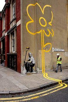 El último trabajo de Banksy en el que fué cazado por las cámaras.