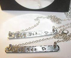 lil sis necklace, big sis necklace, Personalized Bar Necklace,     This necklace can be purchased , single or a set, and my be personalized with names.     *** PLEASE LEAVE THE CHAIN LENGTH YOU NEED IN THE NOTE TO SELLER AT CHECKOUT.    PLEASE NOTE: These pieces are hand stamped. They are not machine made. Each letter is stamp one at a time, by hand. Part of the charm of hand stamped jewelry is that the letters are not always perfectly straight. Please do not consider these imperfections as…