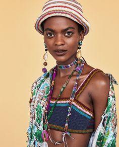 This season's key swimwear at ZARA online. Zara Models, Bikinis, Swimwear, Beachwear For Women, Captain Hat, Crochet, Hats, Top, Fashion