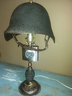 Upcycled Military Theme Desk Table Lamp Vintage War Helmet Lamp Shade Skull Flask Practice Grenade Pole Man Cave Steampunk Industrial Piece