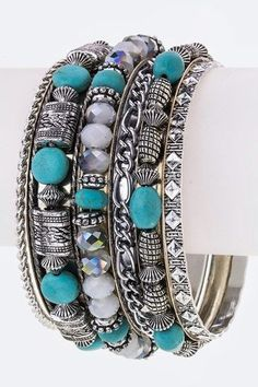 Turquoise and silver bracelet - Turquoise and silver bracelet very sassy! Adds a Bohemian style to every outfit! - On Sale for $24.00 (was $39.00)