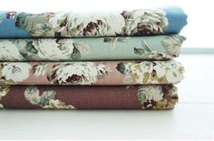 Linen Natural Roses - Pink, Purple, Mint or Blue - By the Yard 41035