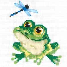"""Little Frog Counted Cross Stitch Kit-6""""X6"""" 10 Count"""