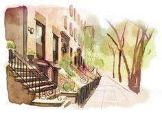illustration, new-york, rue, escalier, arbres