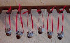 Denim Capped Acorn Ornaments