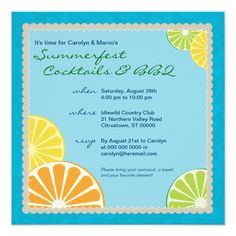 Custom Citrus Summer Party Personalized Announcement created by starstreamdesign. This invitation design is available on many paper types and is completely custom printed. Invitation Paper, Invitation Design, Save The Date Invitations, Party Invitations, Cocktail Party Invitation, Party Stores, Wedding Save The Dates, Smudging, Paper Texture