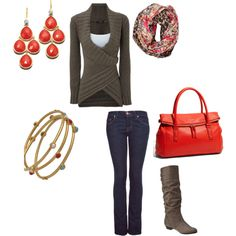 i love the sweater, would accent the curves :) and coral is such a great color