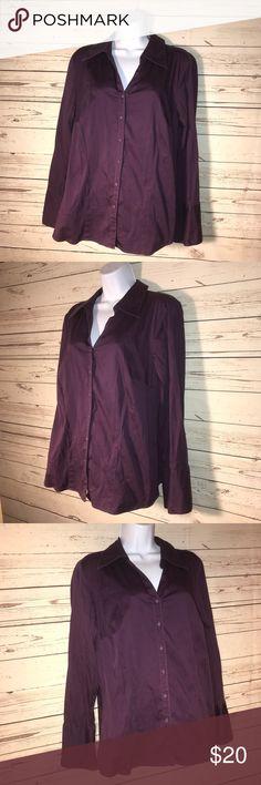 Lane Bryant Cotton blend purple Lane Bryant Tops Button Down Shirts