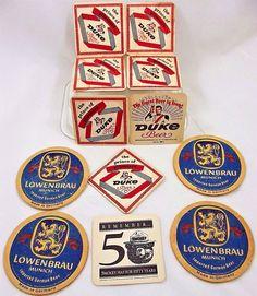 Beer Coasters Lowenbrau Duke Smokey Bear Duquesne Pittsburgh Germany Vtg Lot