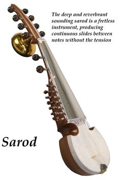 The resonator in Sarod is covered with goat skin. In Calcutta where most sarods are made, the skin is obtained from the goat kids that are sacrificed at the Kalighat temple.
