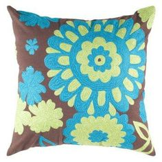 Rizzy Home Embroidered Details Flower Decorative Throw Pillow.