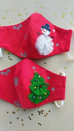 "Matching Christmas Little Girl /& 18"" Doll Face Masks In Sparkly Snowmen Handmade"