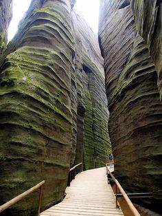 Stairway in the rocks of Teplické skály (East Bohemia), Czechia