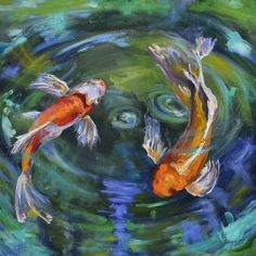 Koi Swirl Painting  - Koi Swirl Fine Art Print - Donna Tuten - I like Koi fish, but mostly I really like her style of painting.