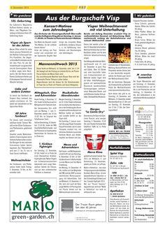 Heutige Ausgabe vom Visper Anzeiger mit Green Garden Mario