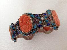 Antique Chinese Sterling Silver Filigree Enamel Carved Coral Floral Bracelet