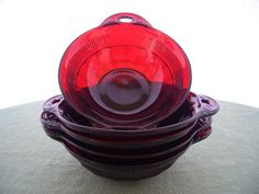 Vintage Depression Glass Red Glass Berry by AnniesVintageRedone