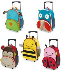 Zoo Luggage - Little Kid Rolling Luggage : by SkipHop : Travel Universe ®  Little kids will love rolling through the airport or to Grandma's with their own Zoo luggage. Sized perfectly for carry-ons and overnight trips, Zoo luggage is sturdy enough for everyday use or distant journeys.