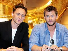 Tom Hiddleston and Chris Hemsworth. Cant wait to see Thor!!!!