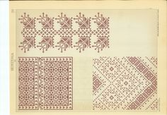 179 drawing boards of traditional romanian sweing motifs. Folk Embroidery, Embroidery Patterns, Cross Stitch Patterns, Traditional Art, Traditional Outfits, Pattern Books, Diy And Crafts, Tapestry, Quilts