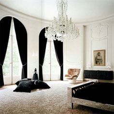 chandelier, black curtains  #black #windows #windowtreatments