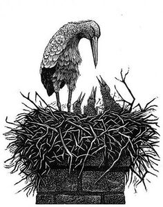 Concept... But not quite right.  Geri Waddington. The Storks. (wood engraving)