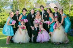 Stunning turquoise and pink bridal party. <3
