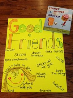 Anchor Chart & book for teaching students how friendship and including others. More ideas & FREE printables on the blog post. :)