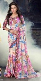 Multi Color Gorgeous All New Printed Traditional Saree Of Georgette Fabric