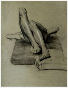 'Untitled' (study of a reclining male nude with tucked up legs) by Sascha Schneider, 1894. Pencil and charcoal with white highlights on grey paper.