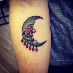 tattoo old school / traditional nautic ink - moon (by Jemma Jones)