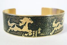 Etched Brass Cuff Running Horse by AmongTheRuins on Etsy