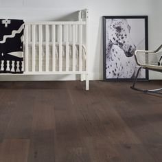 """Birmingham Hickory dark engineered hardwood provides so much warmth to nurseries with its dynamic variation of tone and texture. The 7 1/2"""" planks start at $6.99 a SQ FT and are sure to complete your dream nursery!"""