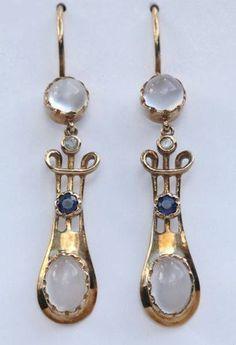 MURRLE BENNETT & Co 1896-1916 Art Nouveau Earrings Gold Moonstone Sapphire Diamond #GoldJewelleryArtNouveau #diamondearrings