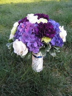 Wedding, Flowers, Bouquet, Purple, Bridal, Hydrangea, Designs by courtney, Carnations
