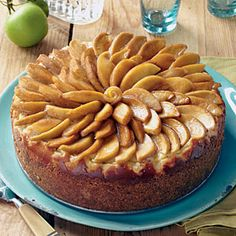 Caramel-Apple Cheesecake: Mine didn't look nearly this pretty, but it sure tasted good!  Note to self: if there are too many apple slices for one layer, leave them off to avoid weighing down the cheesecake.
