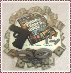 GTA 5 cake Game cake, 100% edible, fondant gun, money, bullets, handcuffs, gambling