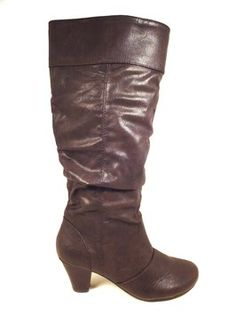 794468f8e5c0 New Directions Brown Tracey Knee High Cuffed Slouchy Dark Chunky Heels  Boots Booties Size US 8.5 Regular (M