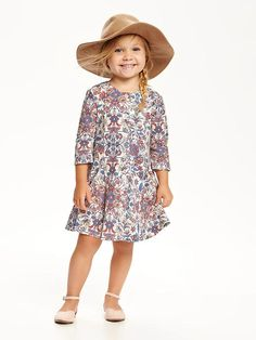 Floral Button-Front Swing Dress for Toddler