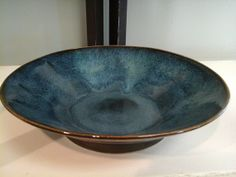 Denim Blue Bowl, 9.5 in diam. 2.5 in tall, food-safe, beautiful to display, functional to use.