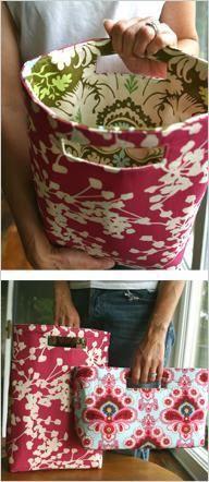 una linda tela convertida en un juego de bolsa de mano.