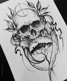 New Tattoo Designs Skull Drawings Ideas Evil Skull Tattoo, Skull Tattoos, Black Tattoos, Body Art Tattoos, Sleeve Tattoos, Black Line Tattoo, Tattoo Tod, Tattoo Life, Death Tattoo