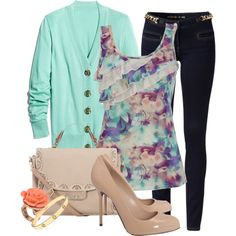 Love the ruffle top & the mint cardigan