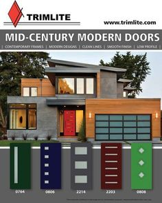 24 Super Ideas For House Modern Design Exterior Doors Modern Garage Doors, Modern Exterior Doors, Exterior Front Doors, Entry Doors, Modern Entry Door, Door Entryway, Mid Century Modern Door, Mid Century Exterior, Mid Century Modern Design