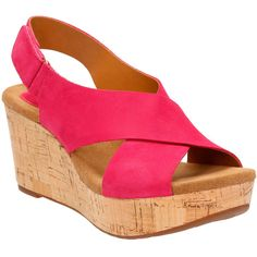 Clarks Women's Caslynn Shae Sandals ($115) ❤ liked on Polyvore featuring shoes, sandals, fuchsia leather, evening sandals, wedge sandals, strap sandals, wedges shoes and strappy platform sandals