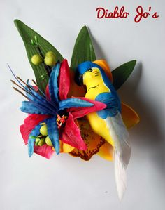 Tropical Parrot Hair flower Blue and Yellow, Rockabilly, Summer Alternative hair, Pin Up by DiabloJos on Etsy